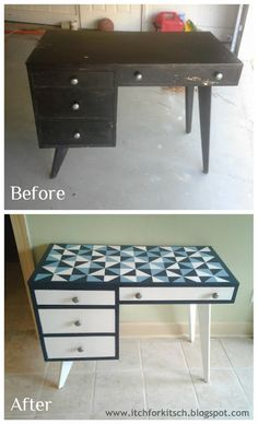 Geometric painted desk, before and after furniture blog post