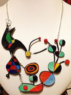 """Free game in """"The Garden"""", necklace, inspired by Joan Mirò Art Only polymer clay and steel 