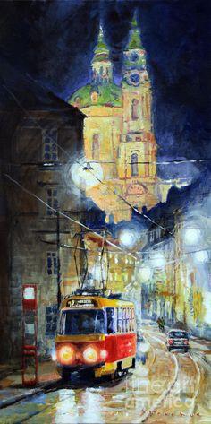 Midnight Tram Prague Karmelitska Str Painting