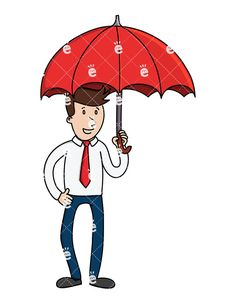 A Businessman Holding A Red Umbrella Above His Head: Royalty-free vector illustration of a casual businessman holding a big red umbrella over his head. He looks as if he's waiting for the rain! #businessman #friendlystock #graphic #vector #art #illustration #animation #whiteboard #svg