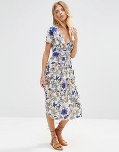 ASOS Wrap Midi Dress with Pleats in Floral Print