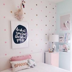 sew felt heart swan hanging beautifully in an amazing girl's room. thanks so much for sharing @elena_marz! swan wall decor is now available in the shop. #swan #walldecor #minikin