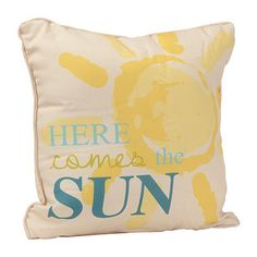 Blue Here Comes The Sun Outdoor Accent Pillow