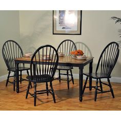 Farm House Dining Room Set w/ 60 inch Table (Rustic Oak/ Rubbed Black)