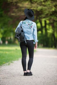 #embroidery #embroidered #hat #jeansjacket #boho #grunge #ootd #fashion