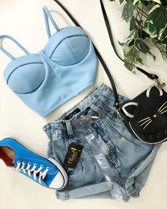 Teen Girl Fashion, Teen Fashion Outfits, Casual Outfits, Womens Fashion, Pretty Outfits, Cute Outfits, Teenage Girl Outfits, Blue Tops, Everyday Fashion