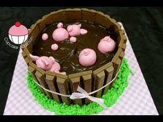 Pigs In Mud Kit Kat Cake! Learn how to make these using our FREE online video tutorials. Visit YouTube channel MyCupcakeAddiction for these and lots more cupcake and cakepop decorating tutorials!