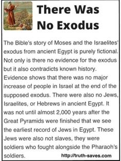 No evidence for Exodus. Nothing in the Bible is real, nothing happened, GIVE IT UP Christians & other religious people, WAKE THE F*** UP