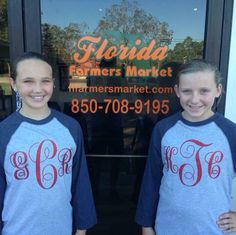 Just made some glitter monogram T-shirts for these pretty girls at our shop: Florida Farmers Market