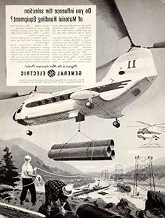 1960 Ad General Electric Sikorsky Vertol Helicopter Construction Building YTF8 - Original Print Ad