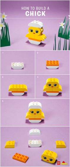 Spring is in the air! Why not welcome it in a fun and creative way by building this cute chick with your toddler?