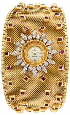 Diamond Watches Ideas : Estate Jewelry:Watches, Retro Rolex Lady's Diamond, Ruby, Gold Bracelet Watch - Watches Topia - Watches: Best Lists, Trends & the Latest Styles Amazing Watches, Beautiful Watches, Stylish Watches, Luxury Watches, Timex Watches, Analog Watches, Patek Philippe, Sterling Silver Bracelets, Diamond Bracelets