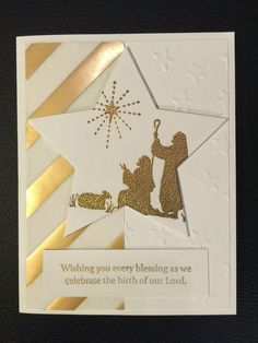 Every Blessing, Lucky Stars EF, Gold Embossing Powder, Stars Framelits, Gold Fancy Designer Vellum Homemade Christmas Cards, Christmas Cards To Make, Noel Christmas, Xmas Cards, Christmas Greetings, Homemade Cards, Handmade Christmas, Holiday Cards, Christmas Crafts