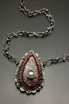 Necklace |  Lynette Andreasen.  sterling silver, 14K gold, embroidery, pearl  etched, sewn, fabricated