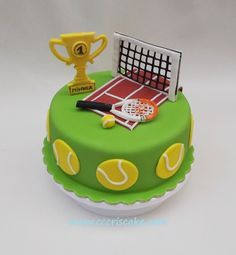 Tenis cake Tennis Cake, Tennis Party, Free Birthday Card, 90th Birthday, Fondant Cake Designs, Sport Cakes, Childrens Party, Cakes And More, Themed Cakes