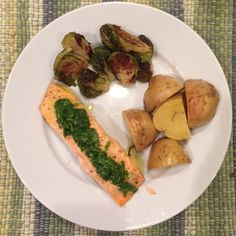 Baked Salmon with Grilled Lemon Vinaigrette, Roasted Potatoes and Brussels Sprouts