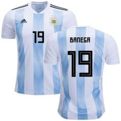 3022199c382 Men #19 Éver Banega Jersey Argentina National 2018 FIFA World Cup Player