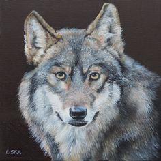 Wolf Porträt Ölbild 30x40 cm