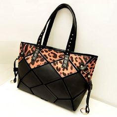 Leopard Print Leather Tote Bags