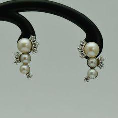 Cercei cu perle si diamante