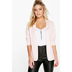Boohoo Nicole Jersey Blazer ($26) ❤ liked on Polyvore featuring outerwear, jackets, blazers, nude, longline blazer, blazer jacket, puffer jacket, pink bomber jacket and bomber jacket