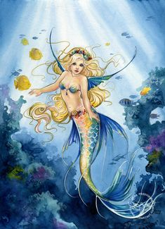Fantasy art by Janna Prosvirina - Daughter of the Ocean - Mermaid Myth Mythical Mystical Legend Mermaids Siren Fantasy Ocean Sea Enchantment Sirens Meerjungfrau sirène sirena Русалка pannu havfrue zeemeermin merenneito syrenka sereia sjöjungfrun sellő Mermaid Fairy, Mermaid Lagoon, Manga Mermaid, Fantasy Mermaids, Mermaids And Mermen, Real Mermaids, Fantasy Creatures, Mythical Creatures, Mermaid Artwork