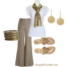 Gorgeous business casual look...just add blazer & shoes to make it appropriate for fall weather.
