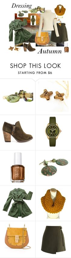 """Dressing Autumn in Gold & Green"" by jillsjoyagol ❤ liked on Polyvore featuring Mas Artisan, Michele, Essie, Ann Taylor, Chloé, Chicwish, Ryan Roche, jillsjoyagol, travelinggypsies and arlenesboutique"