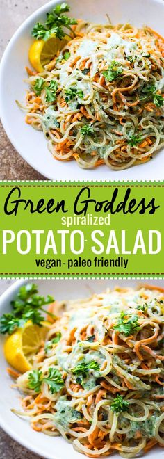Easy Green Goddess spiralized Potato Salad! A paleo and vegan pasta style potato salad that's so flavorful and healthy! A perfectly creamy potluck side dish. Or grab a spoon and hog this salad all for yourself! @cottercrunch