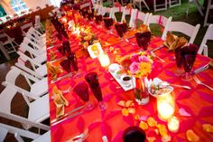 at home Indian fusion wedding fuchsia orange tablescape