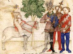 BNF Français 343 - Queste del Saint Graal / Tristan de Léonois  Folio:4v Location:Milan, Italy Dating:1380 - 1385 Institution:Bibliothèque Nationale