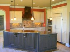 Two Toned Kitchen Custom Cupboards Cabinetry With White Cabinets Perimeter And Slate In Island