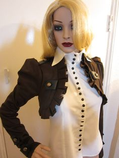 Brown Long sleeves pirate steampunk bolero jacket by blackmirrordesign - Steampunk Steampunk Clothing - Smoked Glass Goggles