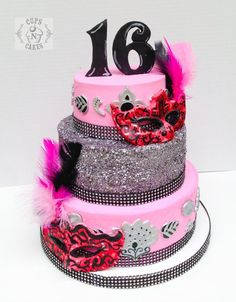 Sweet 16 Masquerade - Cake by Cups-N-Cakes