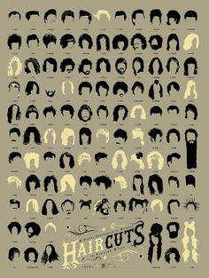 Pop Chart Lab --> Design + Data = Delight --> A Visual Compendium of Notable Haircuts in Popular Music Looks Rockabilly, Natural Hair Styles, Short Hair Styles, Corte Y Color, New Wave, Poster S, Foto Art, Cool Haircuts, Popular Hairstyles