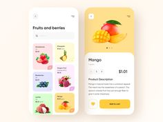 Food shop - Mobile App by Anastasia on Dribbble Fruit Delivery, Delivery App, Mobile App Design, Mobile Ui, Design Thinking, Motion Design, Anastasia, Conception D'applications, Web Design