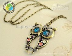 Wholesale European Fashion Retro Colorful Cute Owl Carved Hollow Chain Necklace, Free shipping, $0.65-0.94/Piece | DHgate