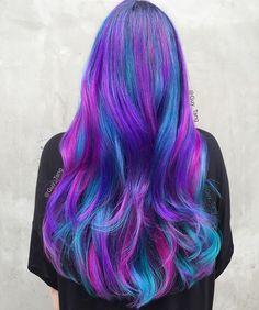 Galaxy Hair Color Ideas & Trends:How to Do Galaxy Hair Galaxy Hair Colo Purple Hair, Ombre Hair, Dye Hair, Galaxy Hair Color, Galaxy Colors, Hight Light, Undercut Designs, Dyed Hair Pastel, Hair Addiction