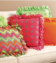 Super Cute Neon No-Sew Fleece Pillows -- Find Directions and Supplies on Joann.com