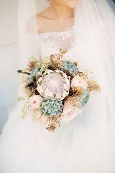 rustic protea succulent wedding bouquet