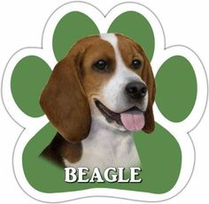Beagle Car Magnet With Unique Paw Shaped Design Measures 5.2 by 5.2 Inches Covered In High Quality UV Gloss For Weather Protection * Hurry! Check out this great product : Christmas Presents for Cats