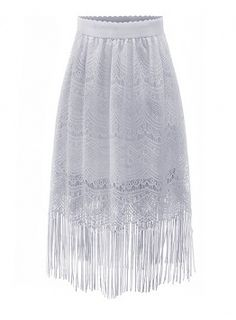 Fvogue Hot Selling Modern Tassles MD-Length Pure Color Lace Skirt