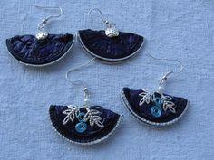 Orecchini a ventaglio viola e neri - fatti con capsule Nespresso