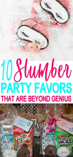 Kids Party Favors! Slumber party favors that kids will love! Easy ideas that boys and girls will love to take home as a gift from the party. DIY ideas, goodie bags and more. Find the best Slumber / sleepover party favor ideas now! #partyfavors #kidsparty #birthdayparty #slumberparty #sleepover