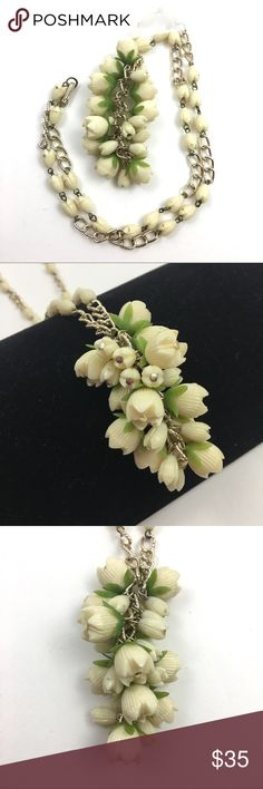 """Vintage celluloid flower cluster necklace long Vintage carved plastic floral cluster necklace, gorgeous style, possibly celluloid; chain measures approx 26""""; some normal wear/discoloring to metal - see photos; marked Hong Kong Vintage Jewelry Necklaces"""