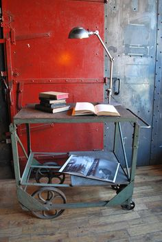 Items similar to Library Cart, Industrial Cart, Industrial Table, Record Storage, Book Shelf on Etsy Industrial Kitchen Island, Industrial Table, Industrial Furniture, Vintage Industrial, Cool Furniture, Library Cart, Record Storage, Book Storage, Snug Room