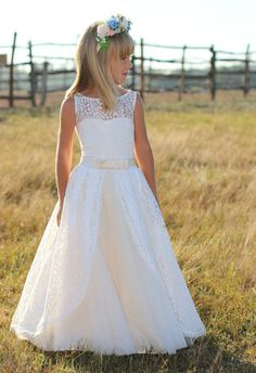 Off Shoulder Lace Sash Ball Gown Net Baby Girl Birthday