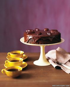 """Chocolate-Date Cake with Chocolate Sticky Toffee Glaze. Martha Stewart--""""We've found the definitive cure for even the worse case of the Mondays. (Spoiler alert: It's chocolate.)"""""""