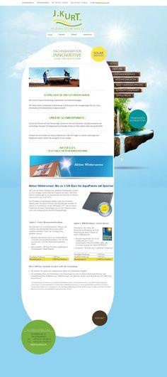 """Die Webseite für """"J. Kurt - Heizung.Solar.Service"""" (http://www.heizung-kurt.de/) präsentiert ansprechend und anschaulich die drei wesentlichen Geschäftsbereiche der Fachmänner aus Rheinfelden: Solar, Heiztechnik und Wasserreinigung."""