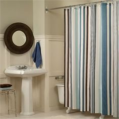 Flo Blue, Brown and Tan Striped Fabric Shower Curtain by M.Style is just the thing that your bathroom needs. Description from bedbathstore.com. I searched for this on bing.com/images